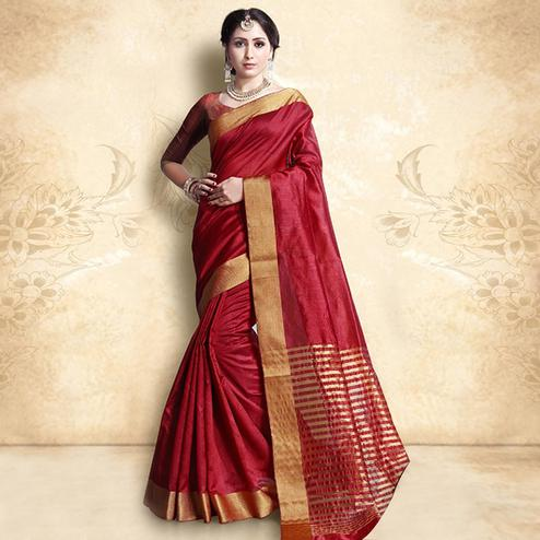 Classy Red Colored Festive Wear Cotton Silk Saree