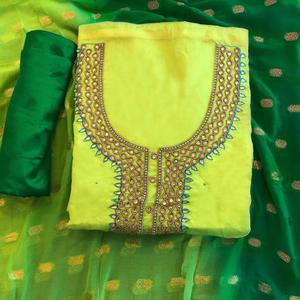 Elegant Light Green Colored Partwear Embroidered Chanderi Silk Salwar Suit