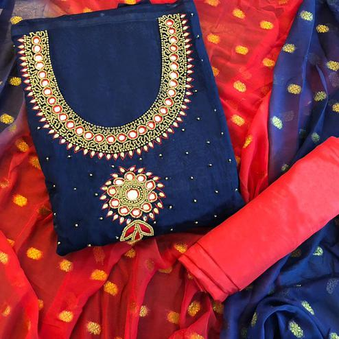 Refreshing Dark Blue Colored Partwear Embroidered Chanderi Silk Salwar Suit
