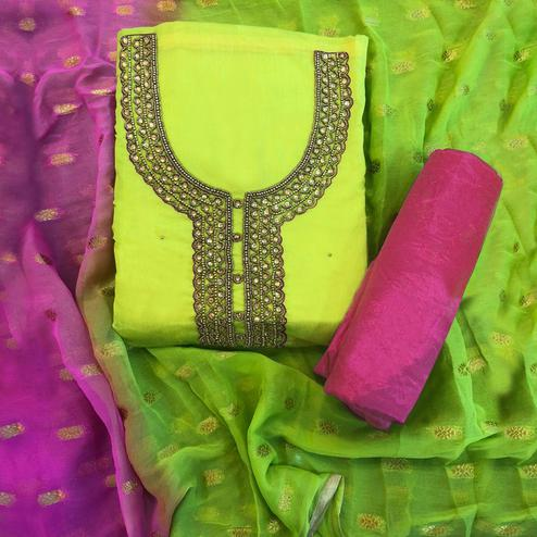 Alluring Light Green - Pink Colored Partwear Embroidered Chanderi Silk Salwar Suit