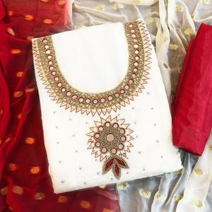 Radiant Off-White Colored Partwear Embroidered Chanderi Silk Salwar Suit