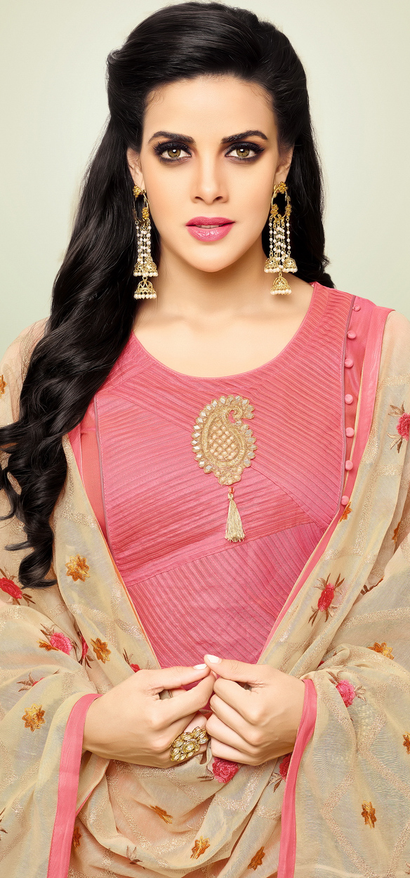 Classy Pink Embroidered Chanderi Semi Stitched Suit