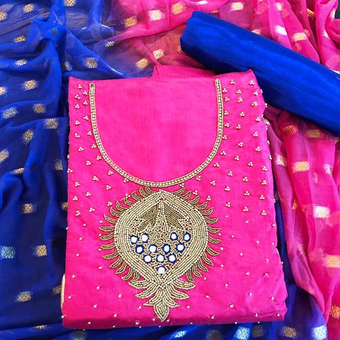 Sensational Pink Colored Partwear Embroidered Chanderi Silk Salwar Suit