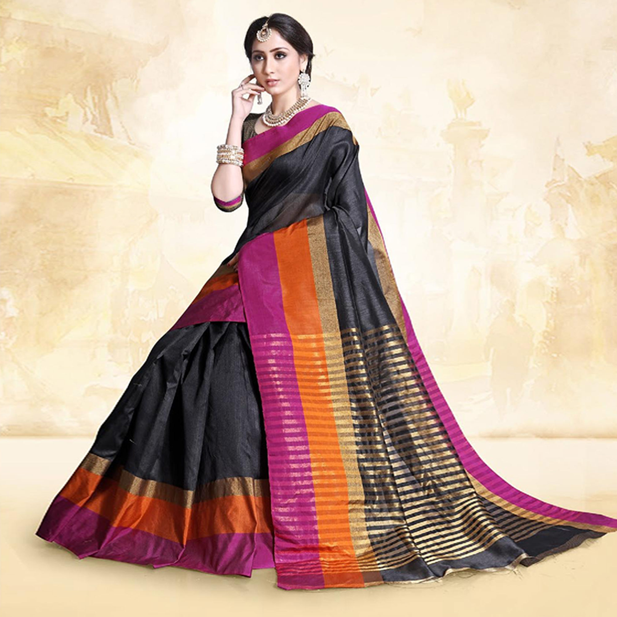 Flaunt Black Colored Festive Wear Cotton Silk Saree