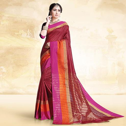 Stylish Maroon Colored Festive Wear Cotton Silk Saree