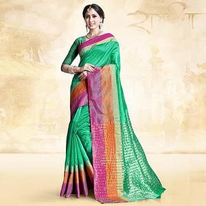 Elegant Pista Green Colored Festive Wear Cotton Silk Saree