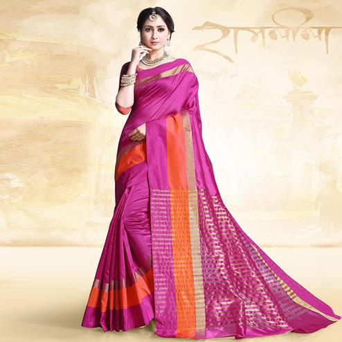 Beautiful Rani Pink Colored Festive Wear Cotton Silk Saree