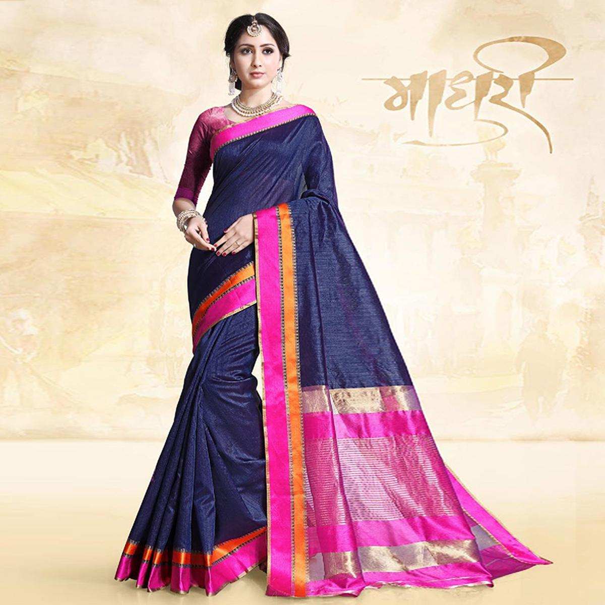 Blooming Navy Blue Colored Festive Wear Cotton Silk Saree