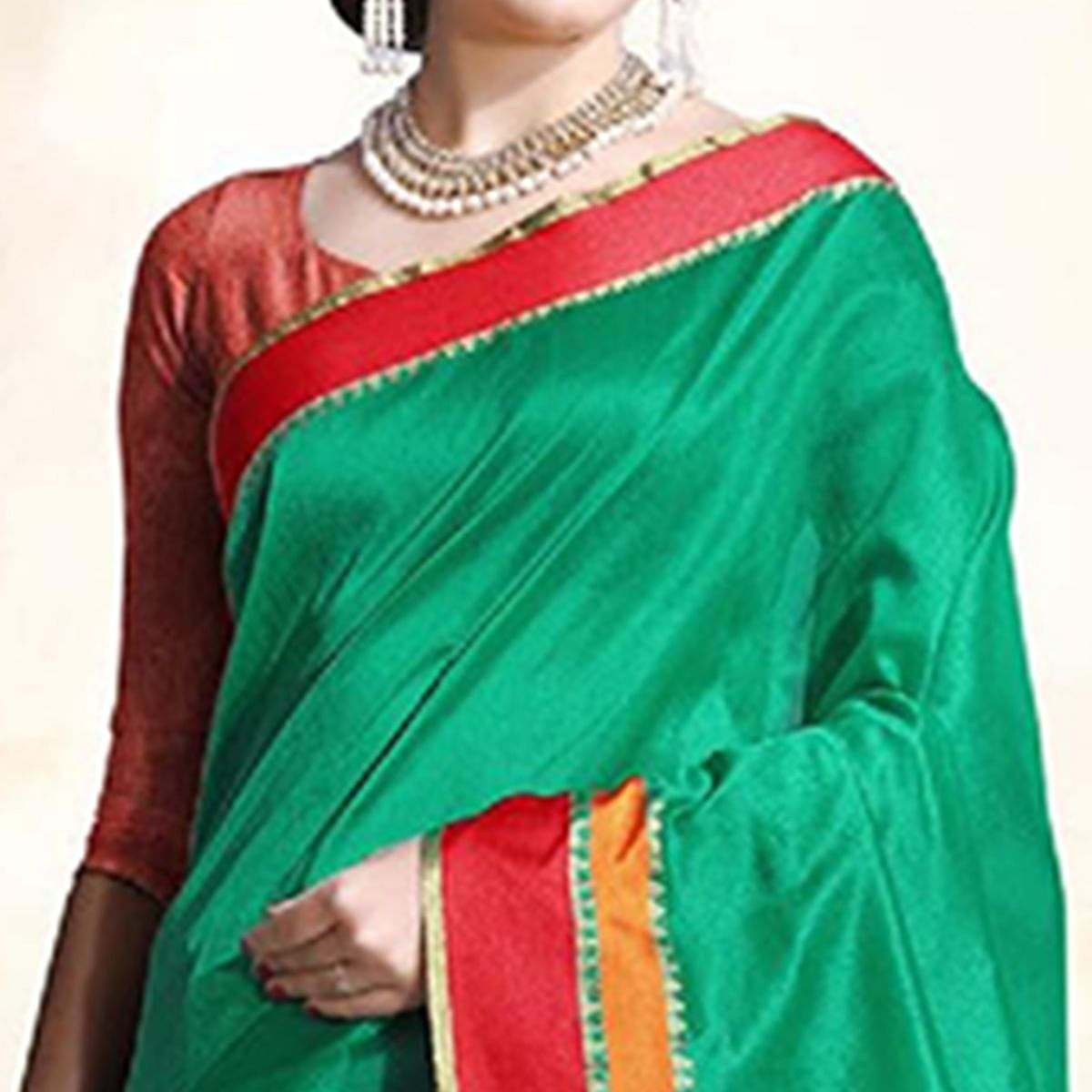 Attractive Turquoise Green Colored Festive Wear Cotton Silk Saree