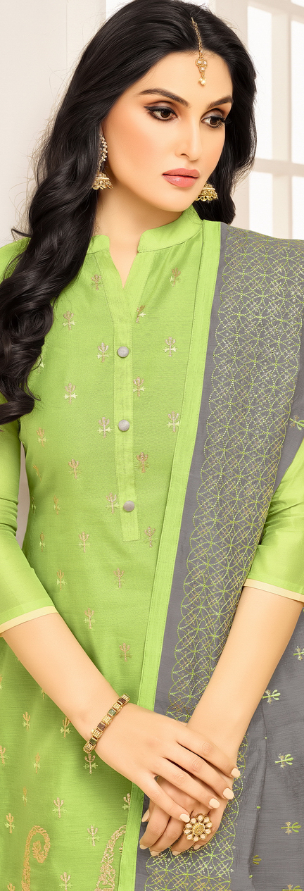 Stylish Parrot Green Embroidered Semi Stitched Suit