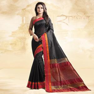 Magnetic Black Colored Festive Wear Cotton Silk Saree