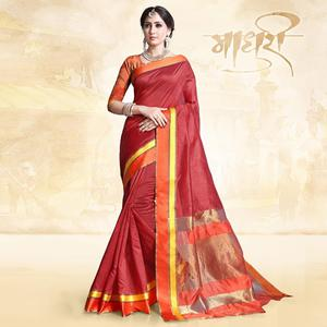 Eye-Catching Red Colored Festive Wear Cotton Silk Saree