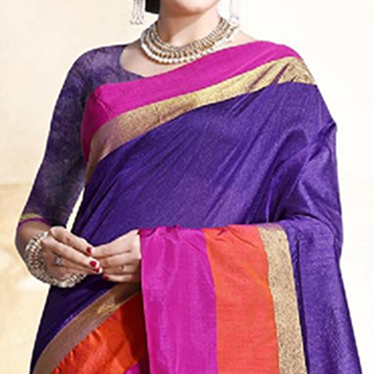 Mesmeric Purple Colored Festive Wear Cotton Silk Saree