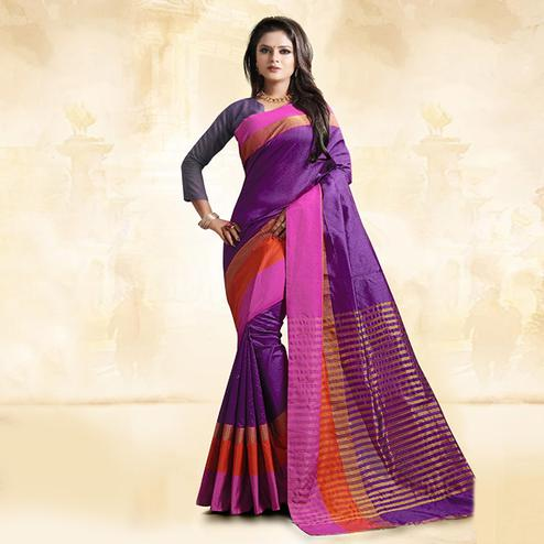 Fab Violet Colored Festive Wear Cotton Silk Saree