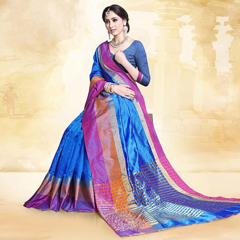 Gorgeous Blue Colored Festive Wear Cotton Silk Saree