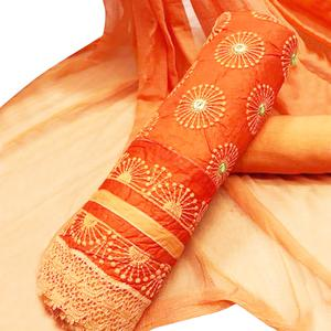 Intricate Orange Colored Party Wear Embroidered Cotton Salwar Suit