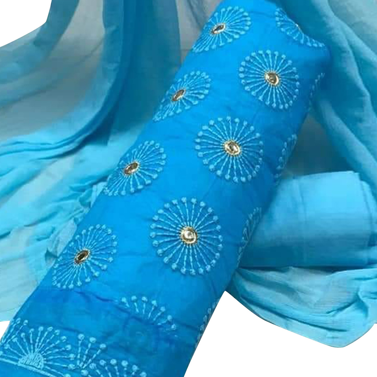 Desirable Sky Blue Colored Party Wear Embroidered Cotton Salwar Suit