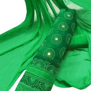 Elegant Green Colored Party Wear Embroidered Cotton Salwar Suit