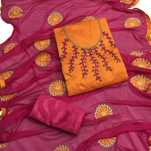 Charming Orange Colored Partywear Embroidered Chanderi Silk Salwar Suit