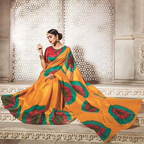 Mustard Yellow Digital Printed Bhagalpuri Saree
