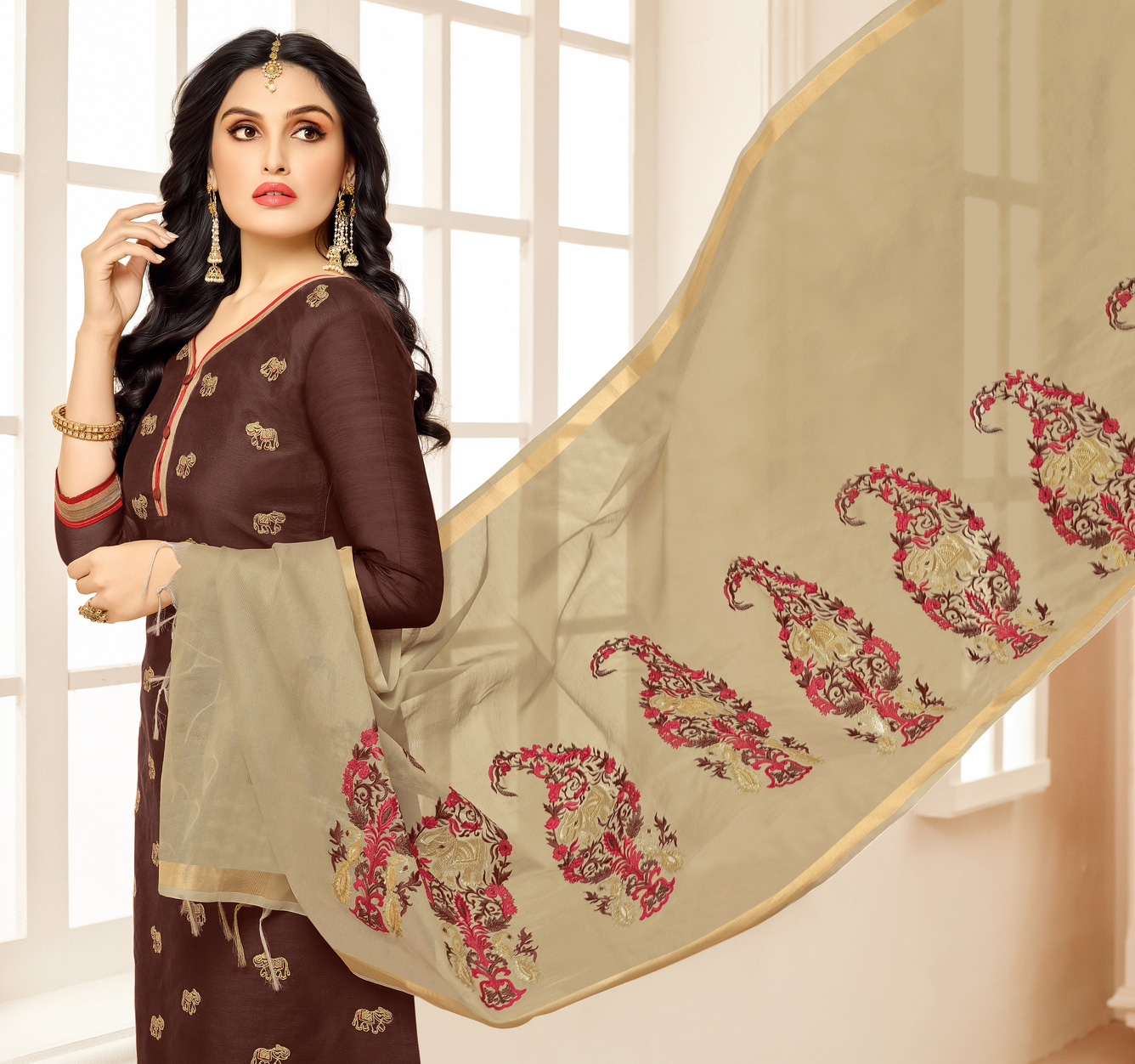 Stunning Brown - Tan Embroidered Chanderi Salwar Suit