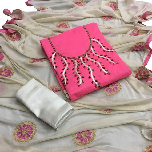 Ravishing Pink Colored Partywear Embroidered Chanderi Silk Salwar Suit