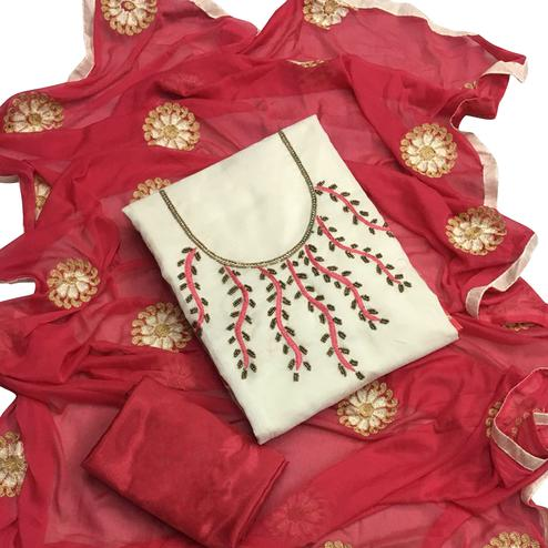 Stunning White Colored Partywear Embroidered Chanderi Silk Salwar Suit