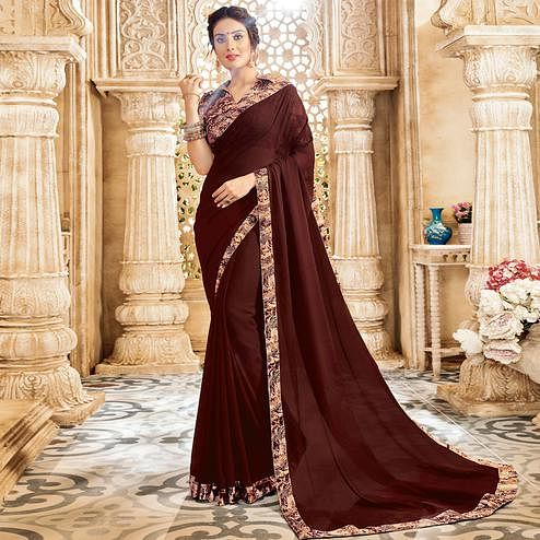 Blooming Brown Colored Casual Wear Chiffon Saree
