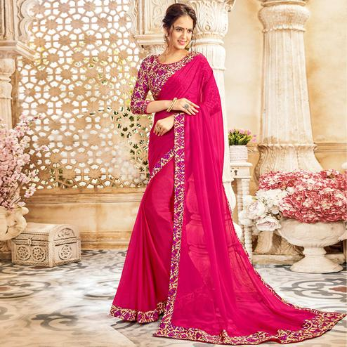 Amazing Rani Pink Colored Casual Wear Chiffon Saree