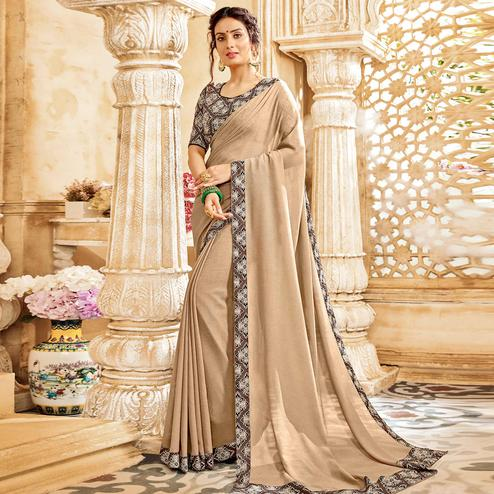 Attractive Beige Colored Casual Wear Chiffon Saree