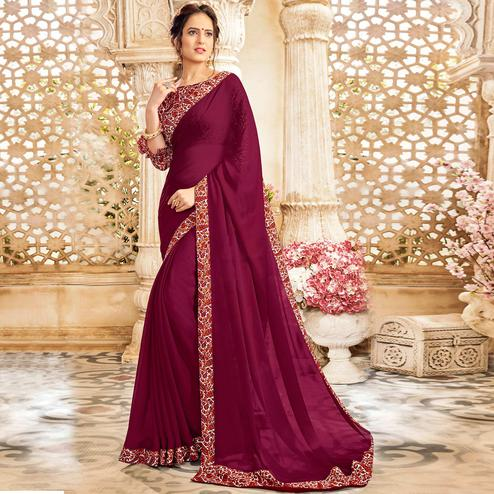 Hypnotic Wine Colored Casual Wear Chiffon Saree