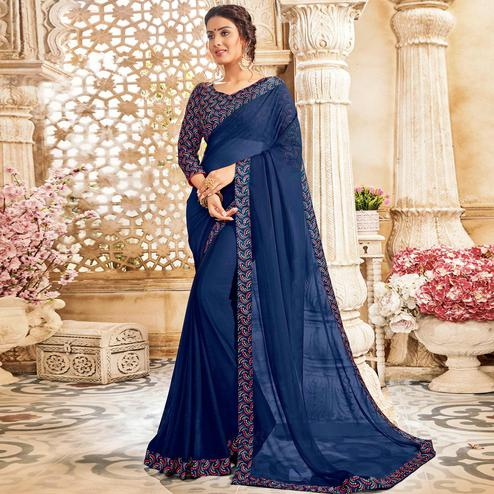 Stunning Blue Colored Casual Wear Chiffon Saree