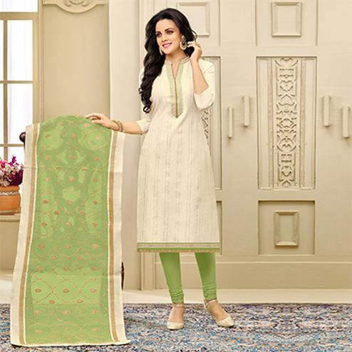Gorgeous Cream Embroidered Chanderi Silk Salwar Suit