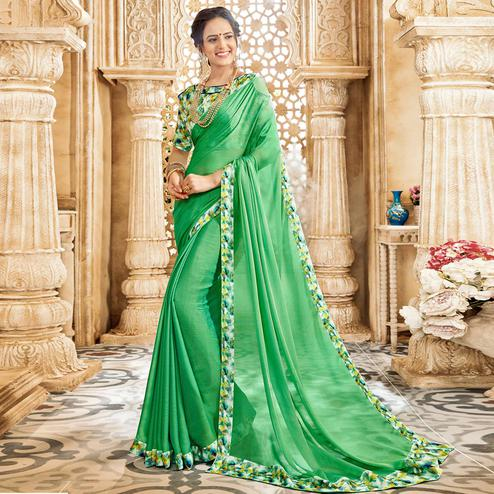 Glowing Turquoise Green Colored Casual Wear Chiffon Saree
