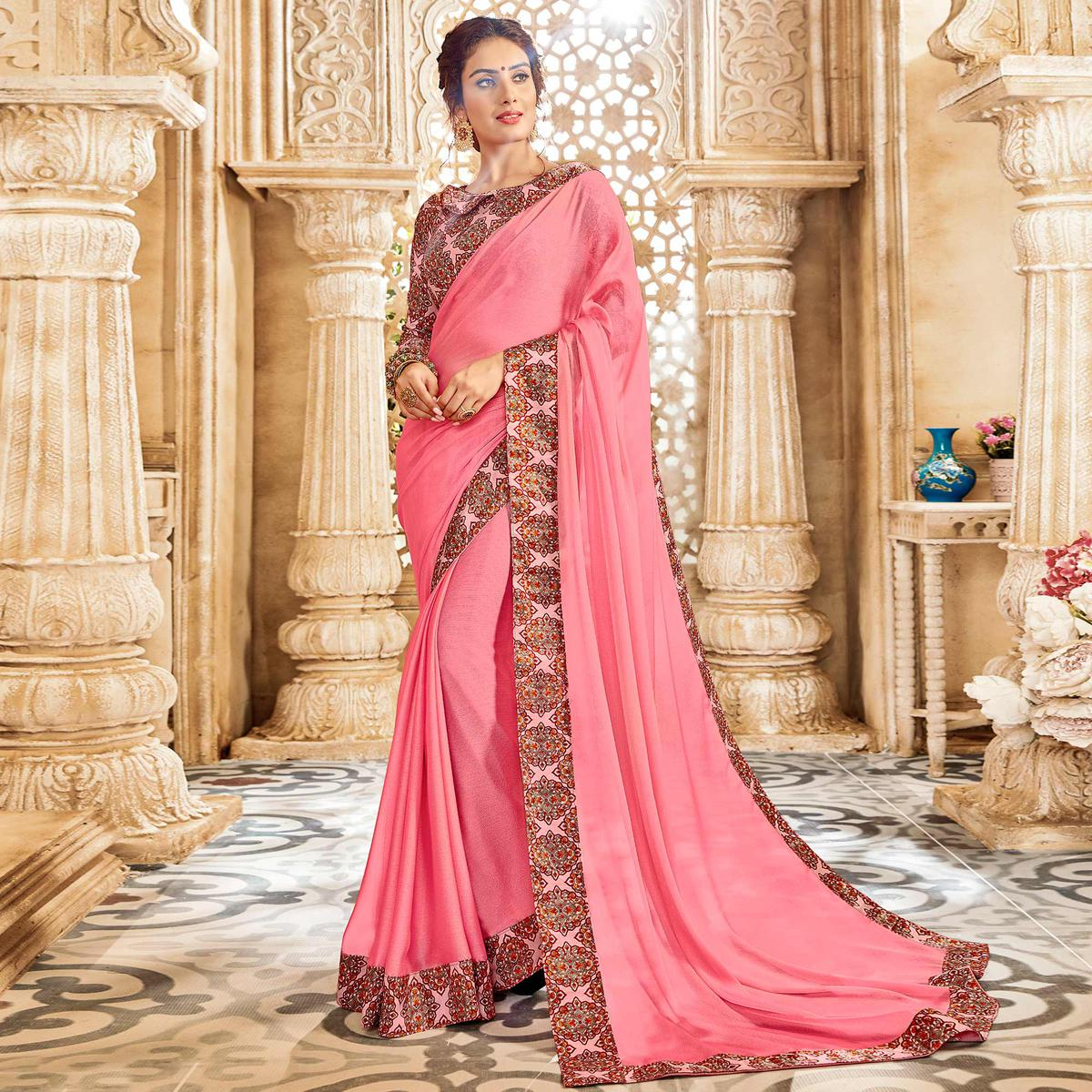 Favorite Pink Colored Casual Wear Chiffon Saree