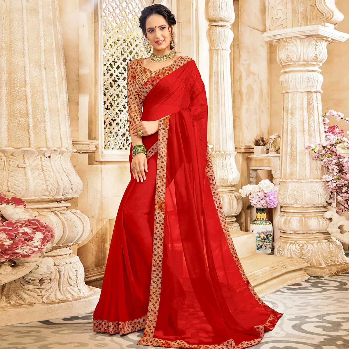 Trendy Red Colored Casual Wear Chiffon Saree
