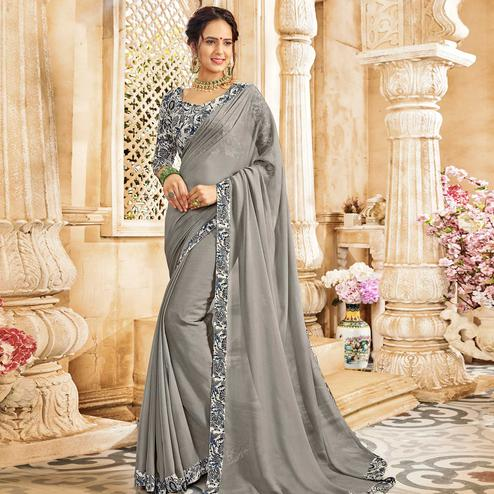 Gorgeous Gray Colored Casual Wear Chiffon Saree