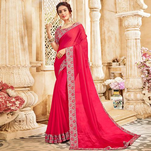 Marvellous Dark Pink Colored Casual Wear Chiffon Saree