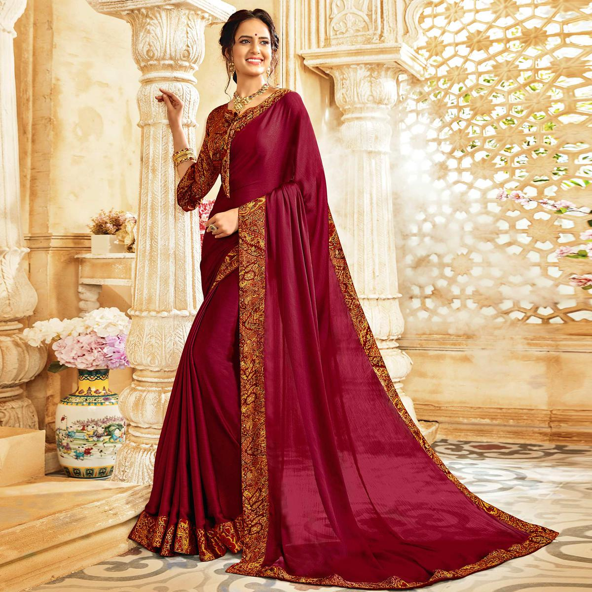 Exceptional Dark Magenta Colored Casual Wear Chiffon Saree