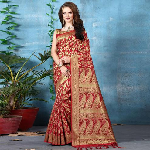 Intricate Red Colored Festive Wear Woven Banarasi Silk Saree