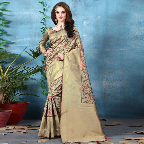 Desirable Golden Colored Festive Wear Woven Banarasi Silk Saree