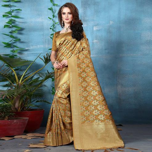Sophisticated Golden Yellow Colored Festive Wear Woven Banarasi Silk Saree