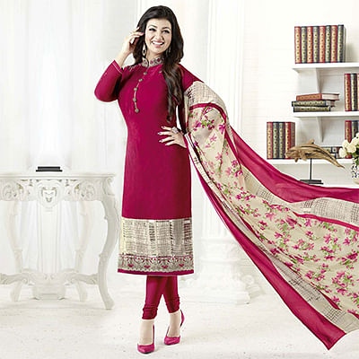 Lovely Dark Pink Designer Embroidered Crepe Salwar Suit