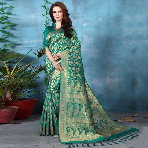 Demanding Turquoise Green Colored Festive Wear Woven Banarasi Silk Saree