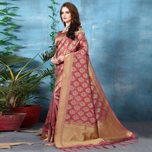 Unique Pink Colored Festive Wear Woven Banarasi Silk Saree