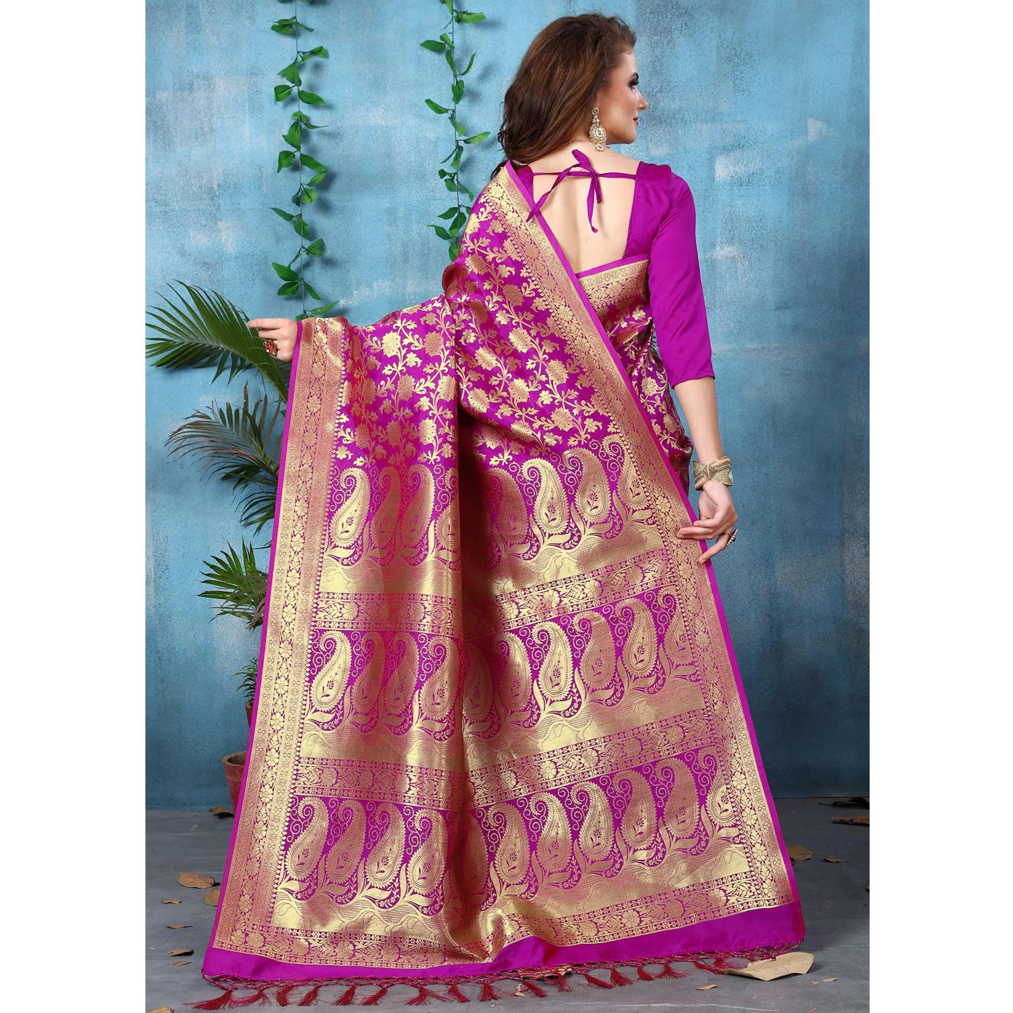 Refreshing Rani Pink Colored Festive Wear Woven Banarasi Silk Saree