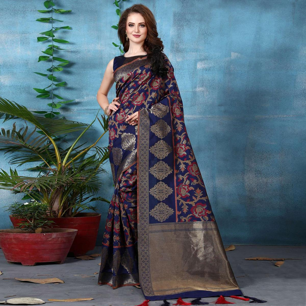 Elegant Navy Blue Colored Festive Wear Woven Banarasi Silk Saree