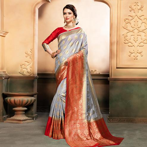 Refreshing Grey Colored Festive Wear Woven Raw Silk Saree
