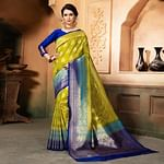 Elegant Olive Green Colored Festive Wear Woven Raw Silk Saree