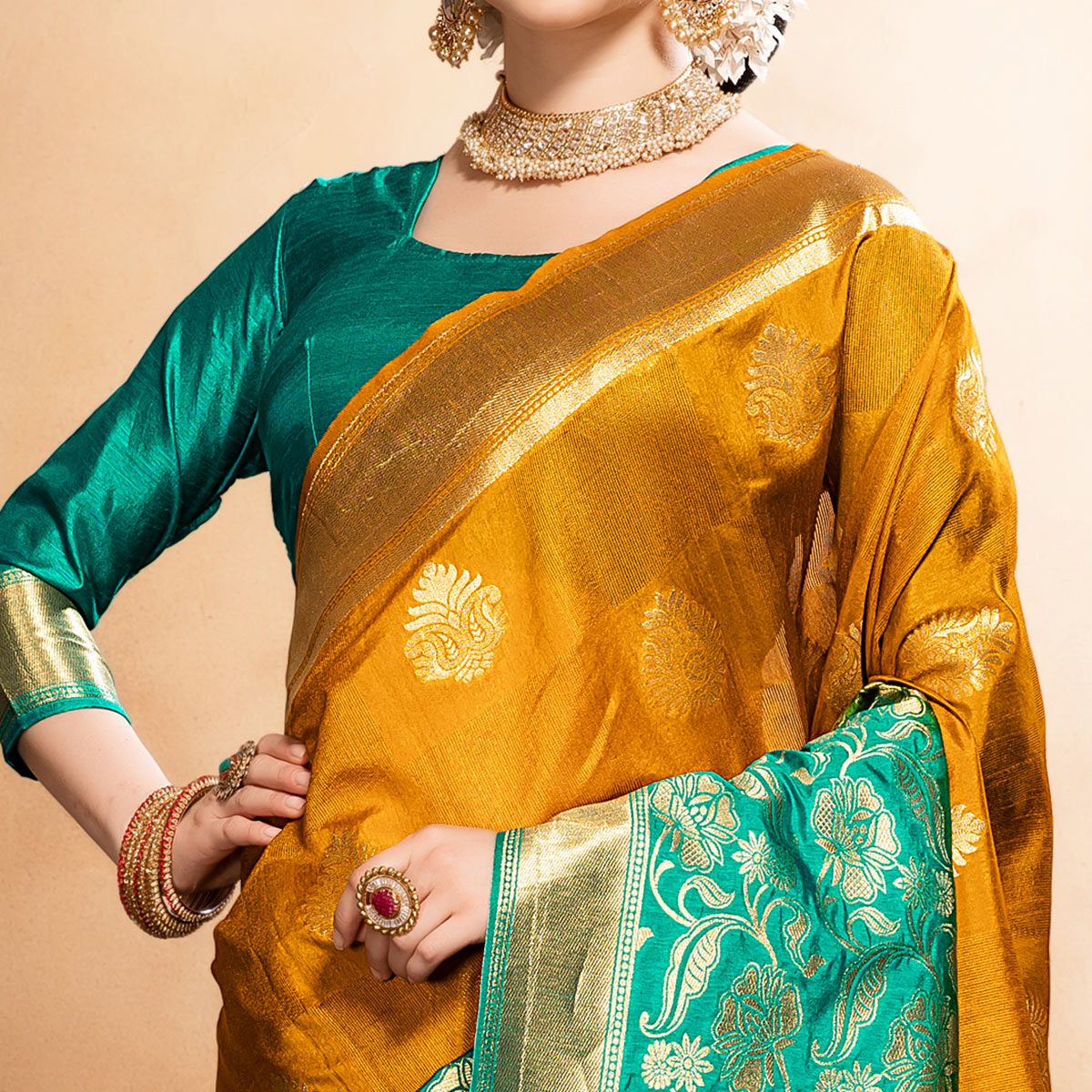 Radiant Golden Yellow Colored Festive Wear Woven Raw Silk Saree